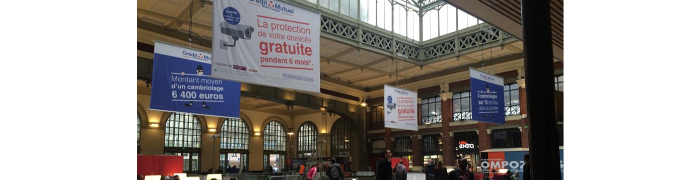 Le Crédit Mutuel Nord Europe s'affiche en grand à la gare Lille Flandres !